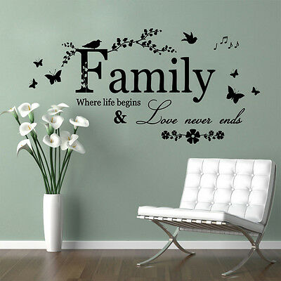 Family Where Life Begins Wall Quote Vinyl Decal Sticker Removable Mural Home Art
