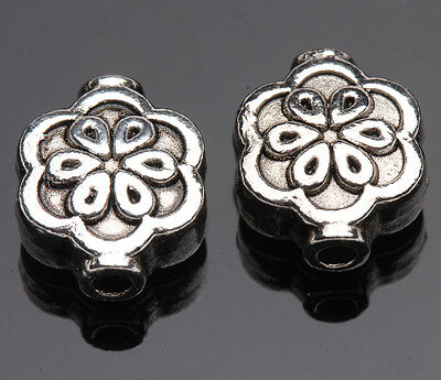 10pcs Tibetan Silver Flower Loose Spacer Beads Charms Jewelry Making 10x8mm DIY
