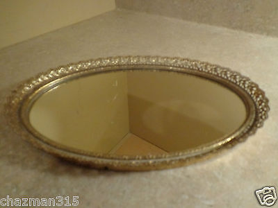 "Vintage Small Oval Mirror Vanity Tray Gold Tone 9 1/2"" x 6 1/2"""