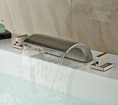 Brushed Nickel Waterfall Spout Tub Filler Faucet Double Handles Basin Mixer Tap