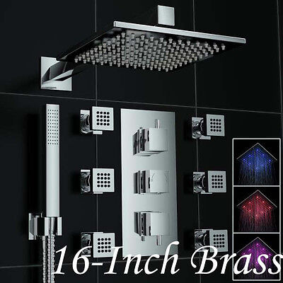 """NEW Modern Square LED Thermostatic 16"""" (40cm) Shower Faucet Sets W/6 Body Jets"""
