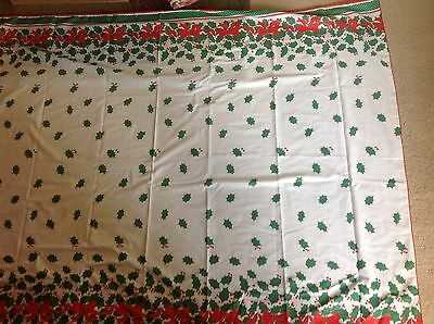 """Vintage Christmas border holly leaves berries & Bows tablecloth  59"""" by 80"""""""
