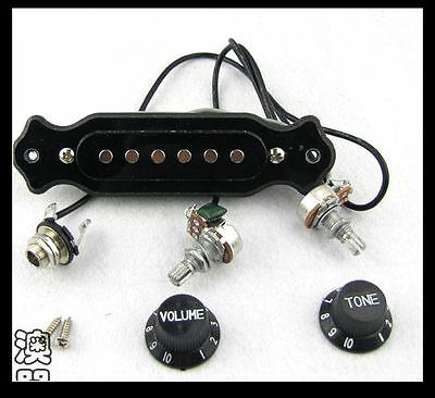 1 Set New Black Acoustic Guitar Pre-wired Pickup Up pots Knobs Jack #lly0233