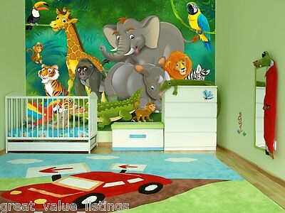 Mural Wall Art Wallpaper Playroom Nursery Jungle Wildlife Animals Toddler Kids