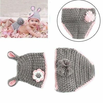 Baby Boy Girl Crochet Animal Beanie Costume Hat Set 0-3, 3-6 Months Photo Props
