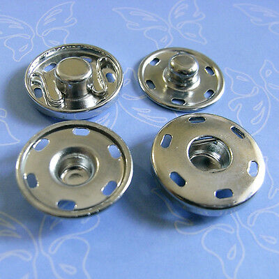 6 Metal Large Snap Fastener Press Stud Coat Sew On Buttons Silver 18mm M187