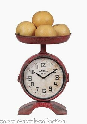 Red Metal Scale Look/Fruit Bowl Two Faced CLOCK*French Country/Primitive Decor