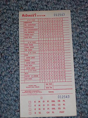McDonald's Menu from @ 1968 Vintage with Roast Beef Sandwich listed