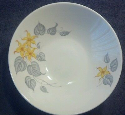 EDWIN KNOWLES CHINA YELLOW FLOWERS GRAY LEAVES 8-3/4'' SERVING VEGETABLE BOWL