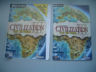 Sid Meier's Civilization III PC Game ORIGINAL CASE COVER & INLET BOOKLET