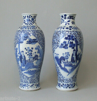 Pair of 19th Century Chinese Kangxi Revival Blue and White Porcelain Vases