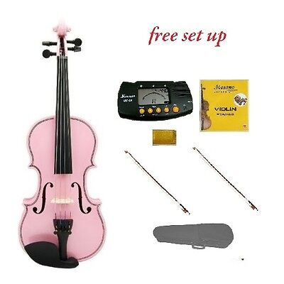 New 3/4 Size Student Pink Violin,Case,2 Bows,2 Sets Strings,Rosin,Metro Tuner