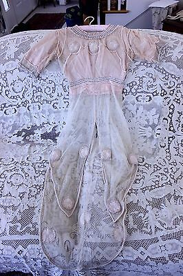 Antique French Pink Net Edwardian Dress/Tea Gown With Hand Beading c1900~Wedding