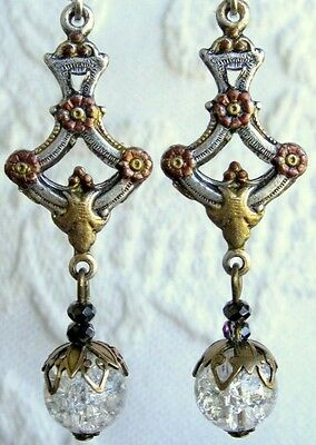 Vintage Art Deco Nouveau Earrings Crackle Glass Crystal Ball Floral Hand Painted