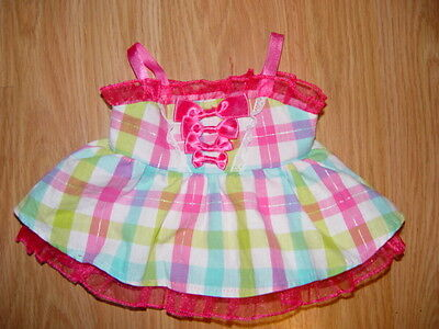 Build a Bear Clothes Clothing Ouutfit Pink Blue & Green Sunday Dress So Cute