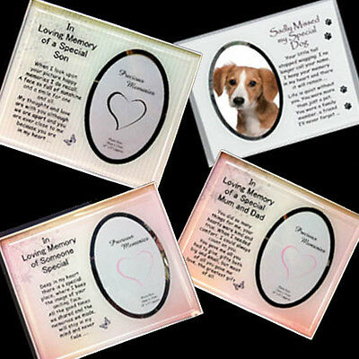 In Memory Glass Message Plaques/Frames - Sentiment Photo Frames in loving memory
