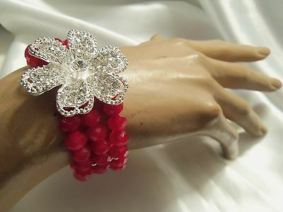 RUBY RED Matte Crystal GLASS Silver Rhinestone FLOWER Stretch Bracelet LA15B34