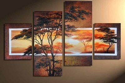 4pc NEW MODERN ABSTRACT HUGE WALL ART OIL PAINTING ON CANVAS (no framed)