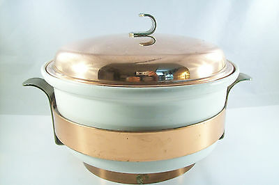 HALL VTG HEAVY CASSEROLE COVERED DISH W/BRASS, COPPER STAND & LID