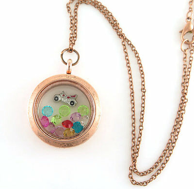 Gift Copper Living Floating Charm Memory Retro Locket Necklace/13pcs charm C696