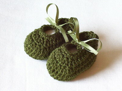 0-3 Months Hand Crocheted Baby Girl Booties Forest Green Color Mary Joe Style