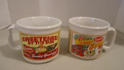 2 Campbells Soup Mugs Vintage Advertising Sweetened By The Sun Delicious 2005