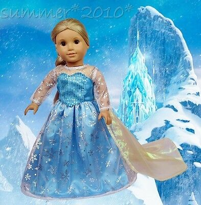"Doll Clothes For 18"" American Girl Queen Elsa Sparkle Princess Snow Golden Dress"