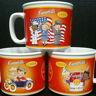 CAMPBELL'S SOUP KIDS 100 YEARS CELEBRATION 1904 - 2004 * LOT OF 3 (THREE) MUGS