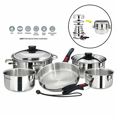 Magma A10-360L 10 Piece Stainless Steel Nesting Cookware Set Boat Home RV