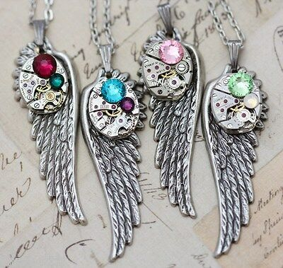 Steampunk Necklace Clockwork Angel Wing Mothers Custom Made 1 2 3 Birthstones