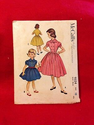 Vtg Little Girls Dress Size 12 From McCall's Pattern In 1953