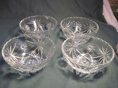 """Anchor Hocking EAPC Early American Prescut 4 Cereal Salad Soup Bowls 5 1/4"""""""