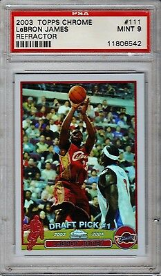 2003 LEBRON JAMES TOPPS CHROME REFRACTOR  ROOKIE RC  PSA 9