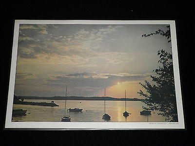"Set of 2 ""The End of a Perfect Day"" Kentucky Lake Vintage Vinyl Placemats"