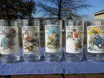 5 Saturday Evening Post Glasses - Arby's Collectors Series