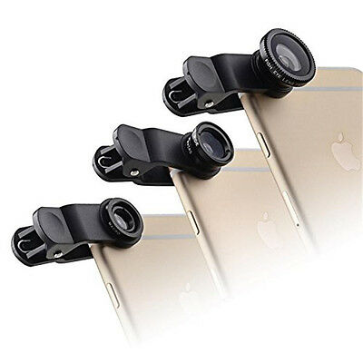 3in1 Fish Eye + Wide Angle Micro Lens Camera Kit for iPhone 5G 4S 4 i9300