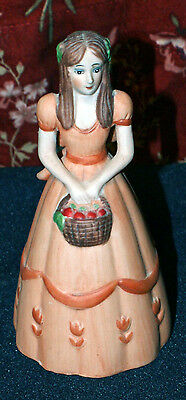 Lovely Young Lady Carrying Basket Of Apples Ceramic Bell