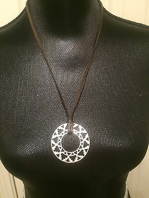LUCKY BRAND Silver-Tone and Leather Round Tribal Pendant Necklace NWT L@@K Fast!