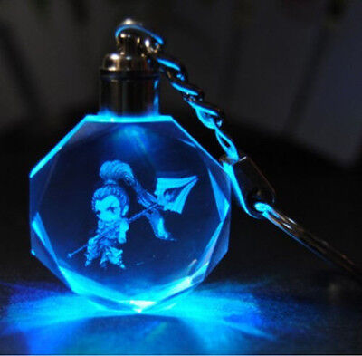 New League-Of-Legends-Crystal-7-Color-Flash-LED-Light-Keychain-All-Star-Xin Zhao