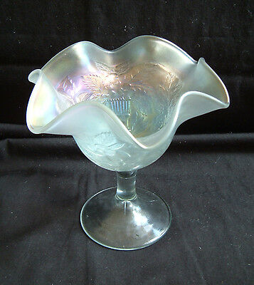 Vintage Fenton White Carnival Glass Compote ~ Peacock and Urn ~ Excellent!