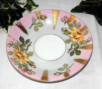 Vintage Pink & Gold Royal Sealy China Saucer ~ Japan ~ Yellow Flowers