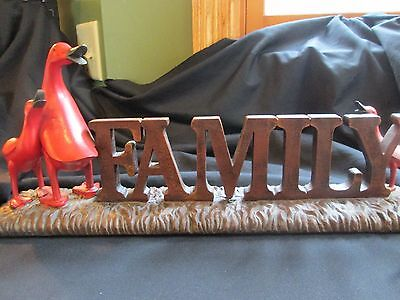 """FAMILY"" sign for table top wood look resin 20""x4"" 3 geese lodge look home decor"