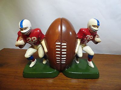 Vintage Football Player Bookends Ceramic 1977 Sears, Roebuck Football Bookend