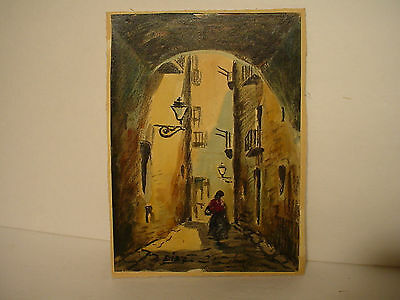 Beautiful Quality Vintage Signed Hand Paint Mix Media Watercolour Painting Diaz