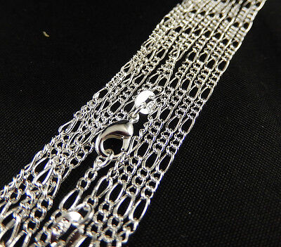 """Wholesale 5Pcs 925Sterling Silver 2mm Figaro Chain Necklace 26"""""""