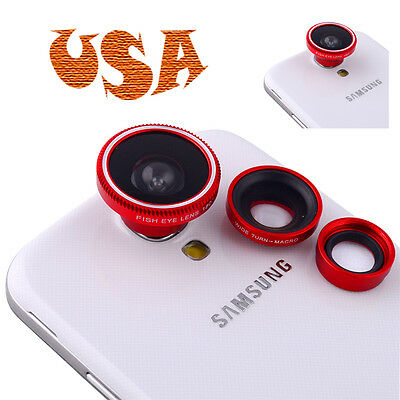 USA 3 in1 Fisheye Wide Angle Micro Lens Kit for Samsung Galaxy S2 S3 S4 I9500