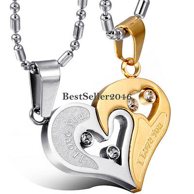 Gold and Silver Tone Stainless Steel I Love You Heart Couple Pendant Necklaces