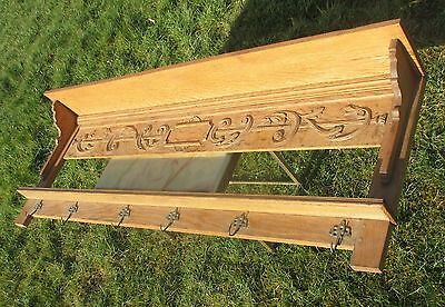 Antique 19th Century Large Coat Hat Rack Carved Wood