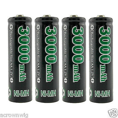 4pcs X GO!GREEN AA 3000mAh 1.2V Ni-MH Rechargeable Battery For Toy Radio Remote