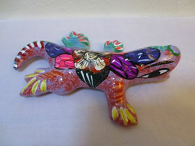 """CERAMIC PSYCHEDELIC LIZARD HAND-PAINTED in 1960's Paint Fashion 6"""" Terra Cotta"""
